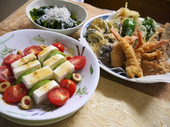 糖質オフの揚げ物と豆腐サラダの献立✿