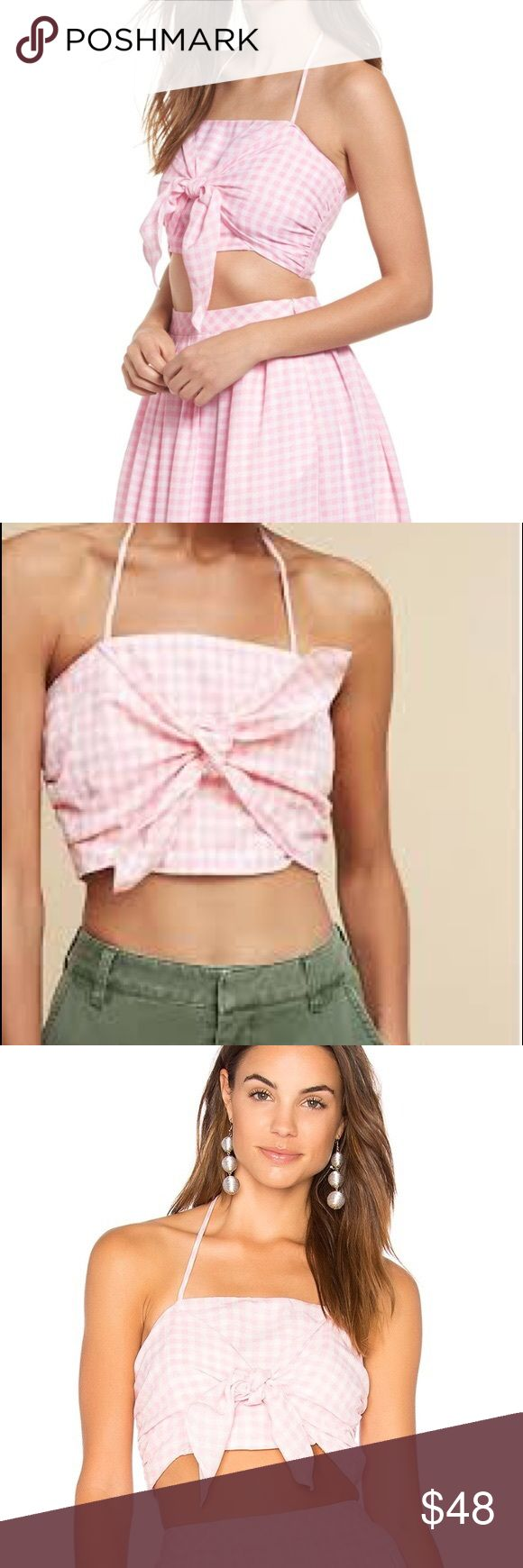 •Anthropologie• JOA Gingham Bow Crop Top Adorable hot pink crop top! Brand new with tags! Anthropologie Tops