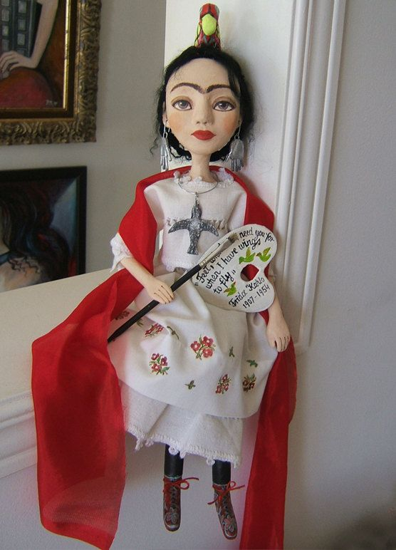 Frida Kahlo  White  Hand made Art Dolls Paper di BarbaraCharacters