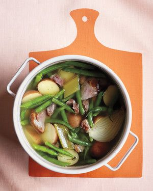 You can make the ham broth and shred the ham hocks a day ahead. The next day, reheat to simmering, and cook the potatoes and green beans.