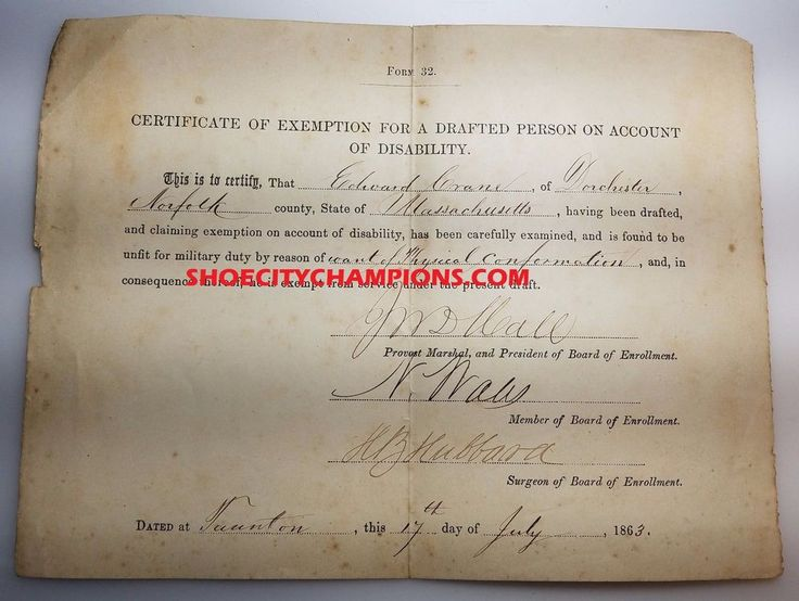 1863 CERTIFICATE OF EXEMPTION FOR A DRAFTED PERSON ON ACCOUNT OF DISABILITY! 22