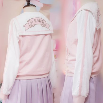 """Style:sweet Material:cotton Colour:pink Size:M,+L  Size+M: Length:56cm/21.84"""".Waist:96cm/37.44"""".Sleeve+Length:58cm/22.62"""".Shoulder:any Size+L: Length:59cm/23.01"""".Waist:100cm/39"""".Sleeve+Length:59cm/23.01"""".Shoulder:any  Tips:+ *Please+double+check+above+size+and+consider+your+measurement..."""