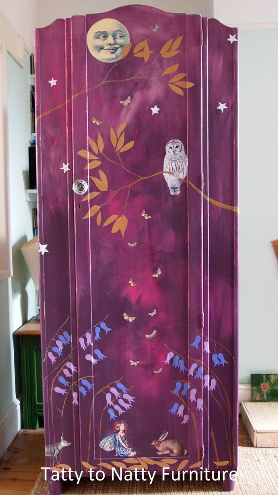 GIRLS VINTAGE WARDROBE toy cupboard chest. PAINTED purple DECOUPAGE shabby chic