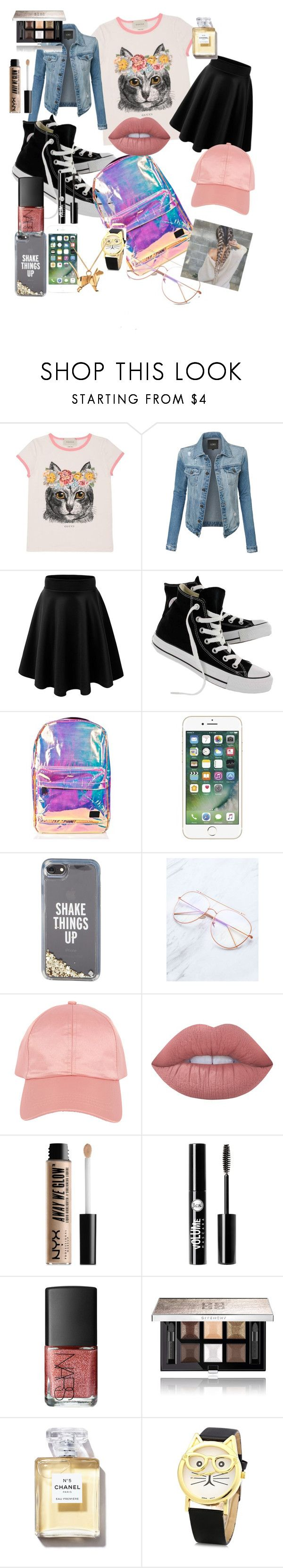 """""""A day out"""" by maeve-lamson on Polyvore featuring Gucci, LE3NO, Converse, Spiral, Kate Spade, Armitage Avenue, Lime Crime, NYX, Charlotte Russe and NARS Cosmetics"""