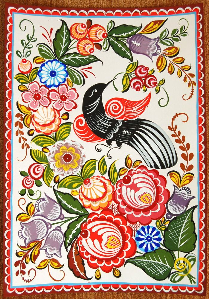 Folk Gorodets painting from Russia. A floral pattern with a cuckoo. #art #folk #painting #Russian
