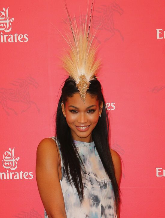 Chanel Iman: Who else could pull off a headpiece like that? Chanel Iman was in Australia for Stakes Day and we were stoked.