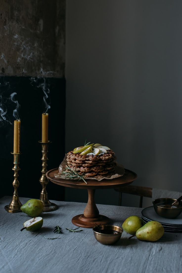 our food stories: glutenfree apple-cinnamon waffles with pears and a tea infused rosmary - coconut sugar syrup