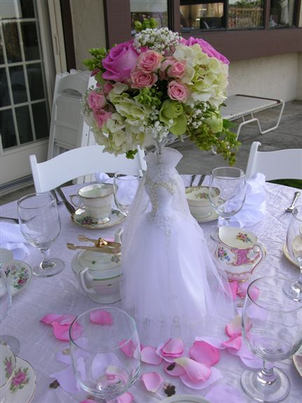 Bridal tea Wedding shower centerpieces