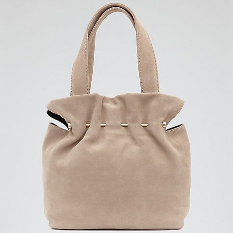 Buy Reiss Cassius Suede And Metal Tote Bag, Natural Online at johnlewis.com