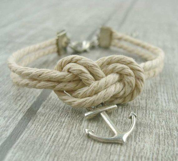 Anchor bracelet, mooring rope bracelet, fabulous navy bracelet, infinity knot, friend's gift,blessed garden on Etsy, $1.99