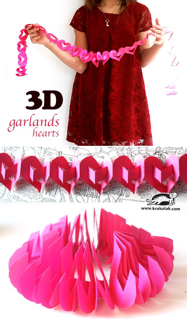 How to make a 3D heart garland #valentinesday #decor