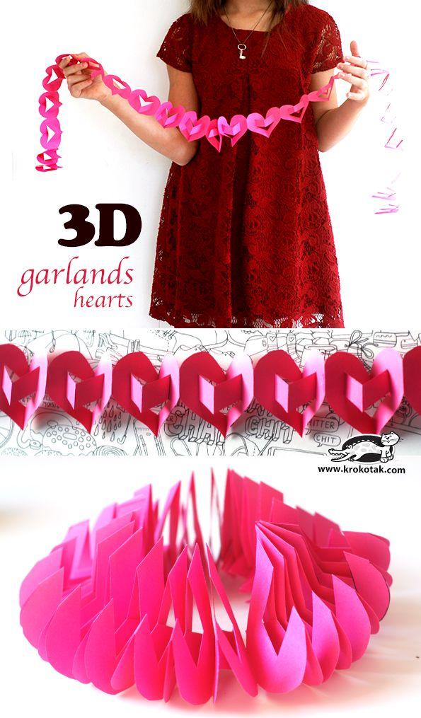 How to make a 3D heart garland #valentinesday #decor