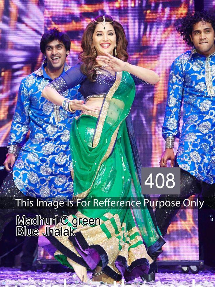 Madhuri Dixit Net Machine Work Green Semi Stitched Bollywood Designer Lehenga - RK408
