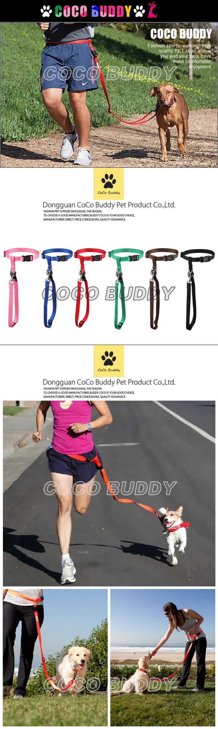 2016 hands free running dog jogging leash & bungee dog leash factory OEM