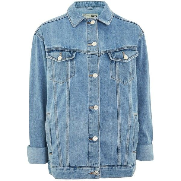 Topshop Tall Oversized Denim Jacket 60 Liked On Polyvore Featuring Outerwear Jackets Mid Stone Jean Denim Jacket Oversized Denim Jacket Denim Outerwear