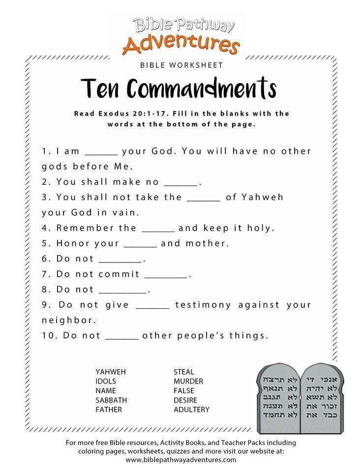 Ten Commandments worksheet for Kids Bible lessons for