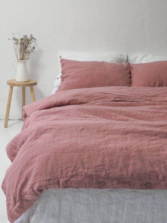 Linen Duvet Cover In Woodrose Dusty Pink Washed Linen Etsy Linen Duvet Covers Bed Linen Sets Bed Linens Luxury