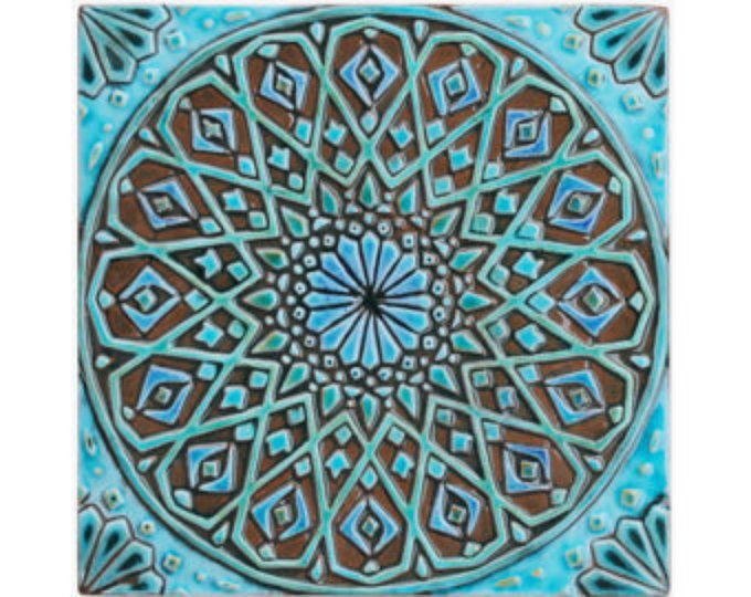 Marokkaanse muur opknoping gemaakt van keramiek - buitenmuur art - Marokkaanse kunst - Marokkaanse muur opknoping - keramische tegels - moroc4 - turkoois