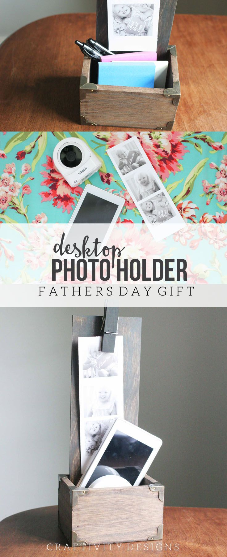 Learn how to make a DIY Desktop Photo Holder. This handmade gift features free printables for a Father's Day photo shoot. Pair the photos with the DIY Desk Organizer, and include a great gadget -- like a new baby monitor -- for a techy and personalized Father's Day Gift! #NewDadMustHaves #ad