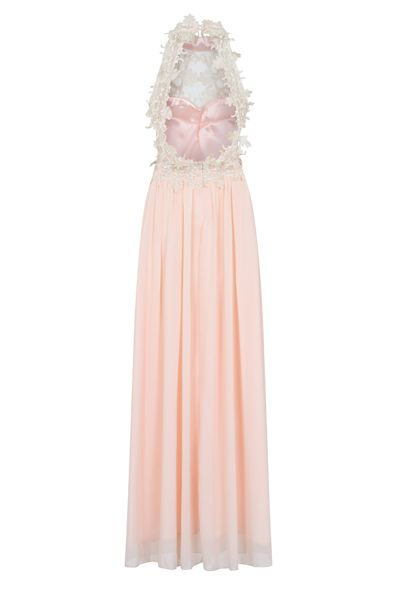 NAZZ COLLECTION GEISHA SOFT PEACH APPLIQUE HIGHNECK BACKLESS MAXI DRESS
