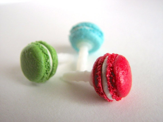 Macaron dust plug for cell phone handmade clay pluggy by xunnux, $6.90