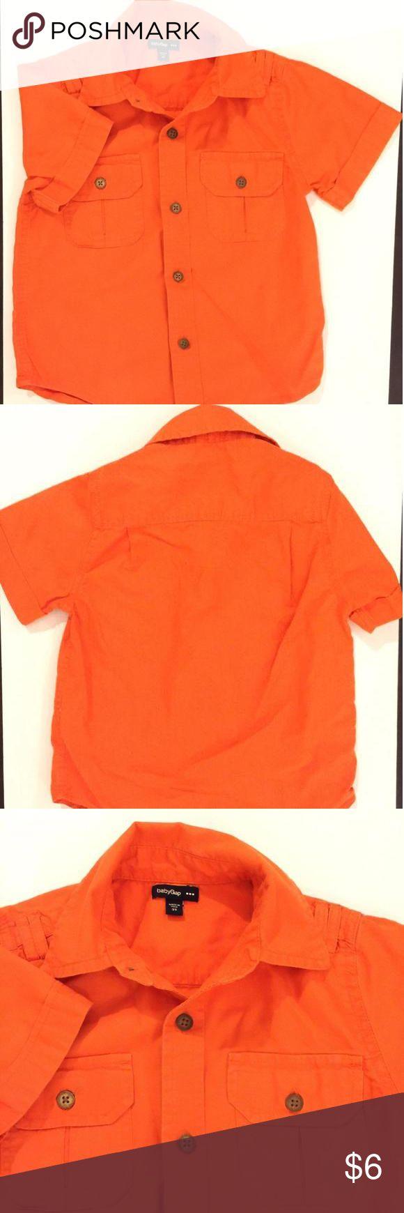 🎉Editors Pick🎉Gap short sleeve dress shirt size 3t Very light button up shirt sleeve shirt Baby Gap Shirts & Tops