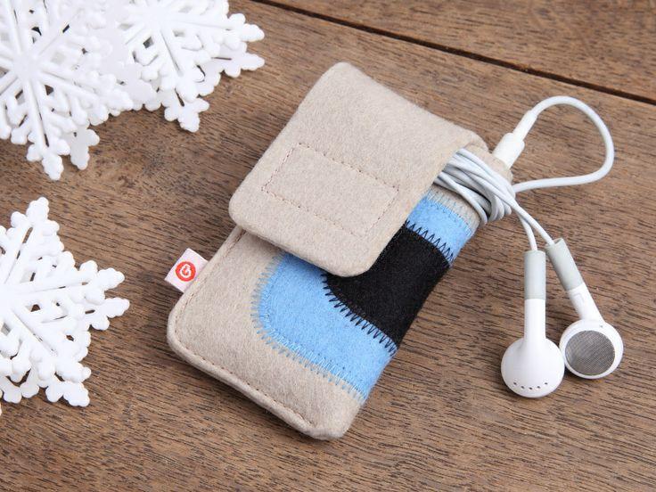 """iPod nano Tasche """"Beige-Hellblau-Schwarz"""" von blandine taschen  auf DaWanda.com"""