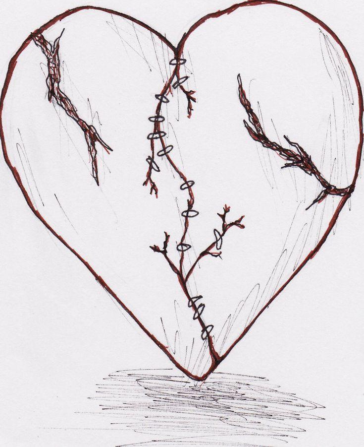 Sad Broken Heart Drawing Easy