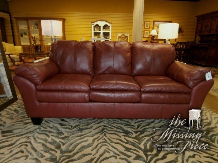 Swell Three Cushion Tight Back Leather Sofa In Rust Overstuffed Spiritservingveterans Wood Chair Design Ideas Spiritservingveteransorg