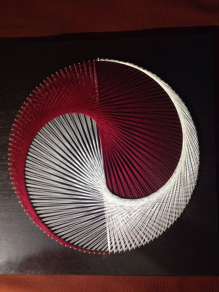"String art portrait yin yang red white black circle picture 16"" square"