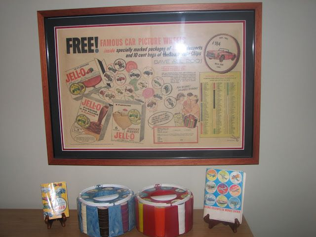 Memories Of The Past: 1962, VINTAGE CAR AND AIRPLANE PICTURE WHEELS, JELL-O & HOSTESS POTATO CHIPS PREMIUM