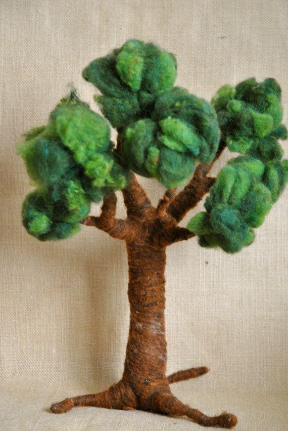 Aguja de árbol de lana de fieltro inspirado en Waldorf: Four Seasons (hecho por encargo).