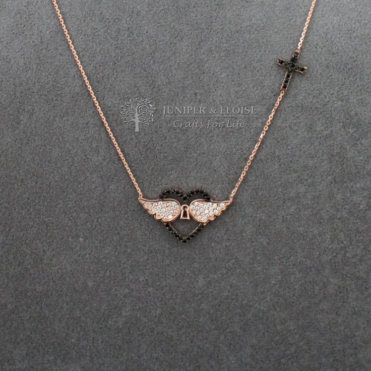 Womens Necklace, Heart Necklace, Rose gold 925 Silver Necklace, Gift For Her,  monile, colar, Halskette by JuniperandEloise on Etsy