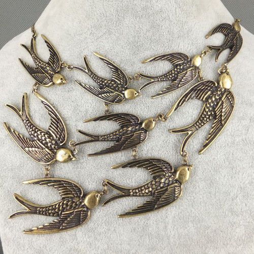 Vintage Bronze SWALLOW Necklace Bird Tattoo Retro Rockabilly Psychobilly Flying #Handmade #Swallows