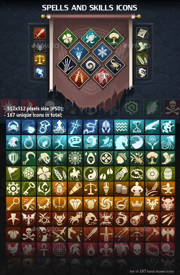 Spells and Skills Icons - #Miscellaneous #Game Assets Download here: https://graphicriver.net/item/spells-and-skills-icons/19614047?ref=alena994