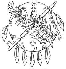 Thumbnail image of Osage Shield Coloring Page  Color this and then put on blue construction paper to make a flag