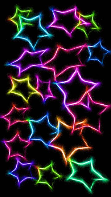 Neon Glowing Stars Pattern Colorful On Black Background Color