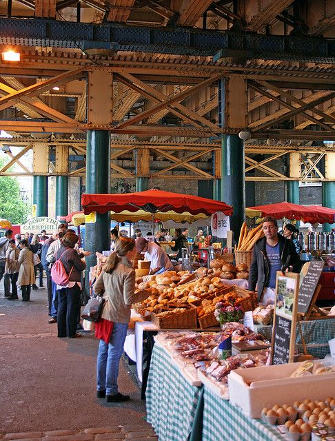 Borough Market, Near London Bridge Station - fresh fruit and veg, also great street bakery and cake ordering.