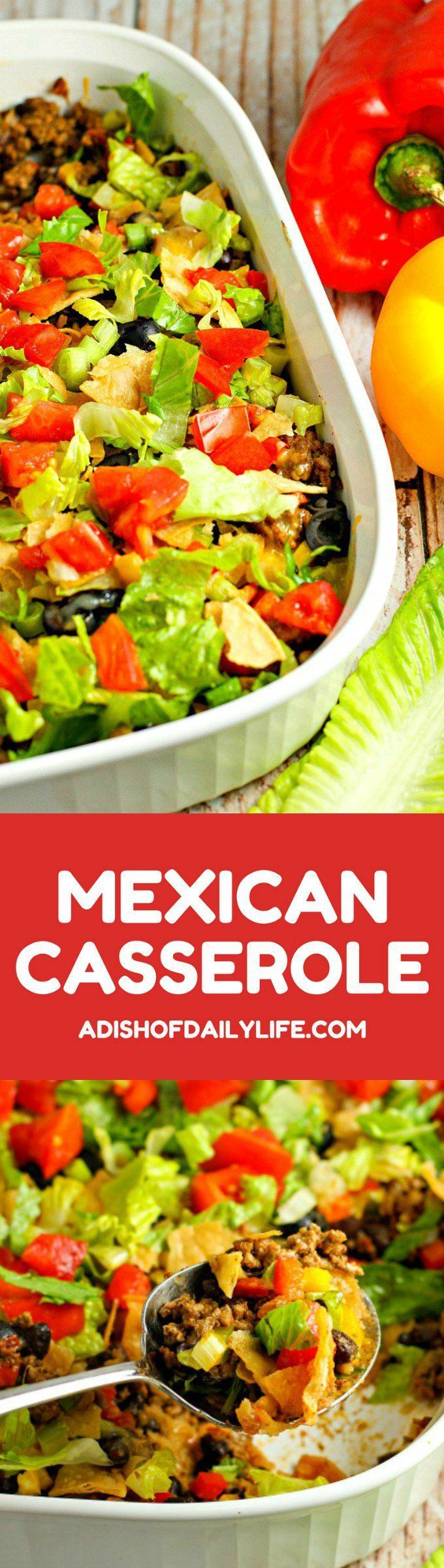 This easy Mexican Casserole has all the taco fixings that your family loves in a comforting casserole. It's perfect for Taco Tuesday, Mexican night or any night you need to get dinner on the table quickly!