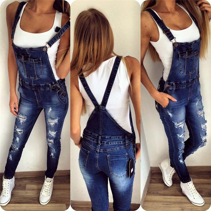 New Suspender Trousers For Ladies Jeans Softener Slim Woman Jumpsuits Fashion Denim Overalls Woman Trousers Vestidos De Gala