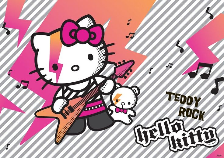 fototapet Hello Kitty and Teddy Rock 2