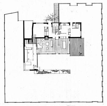 Alvar Aalto: Residential building and studio, 1935-36, plan, Riihitie, Helsinki, Finland.