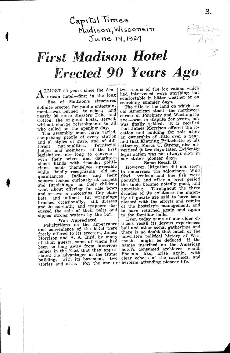 First Madison hotel erected 90 years ago | Newspaper Article/Clipping | Wisconsin Historical Society