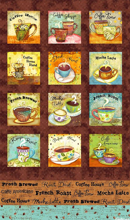"Coffee House - Painted Coffee Cups - 24"" x 44"" PANEL - Quilt Fabrics from www.eQuilter.com"