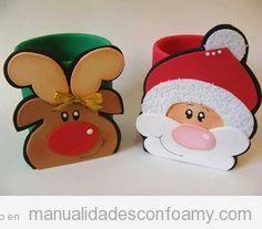 Vaso decorado con reno Rudolph y Papa Noel de foamy