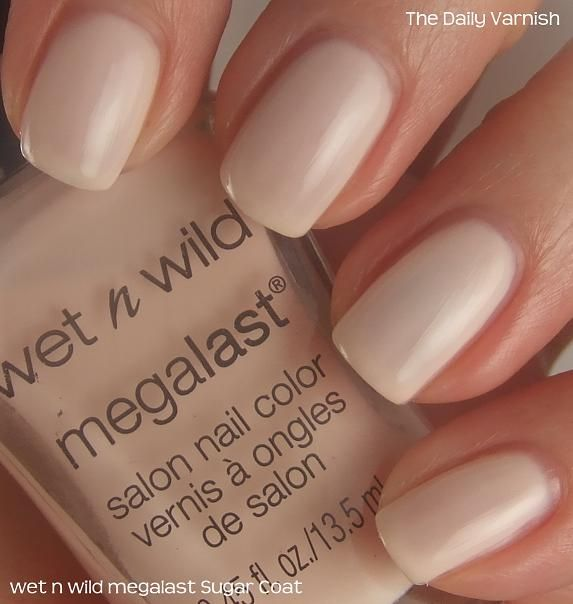 "✔ WET n WILD MEGALAST ""SUGAR COAT"" a very, very pale cool toned pink creme. Cheap/Inexpensive Drugstore Nude Nail Polish."