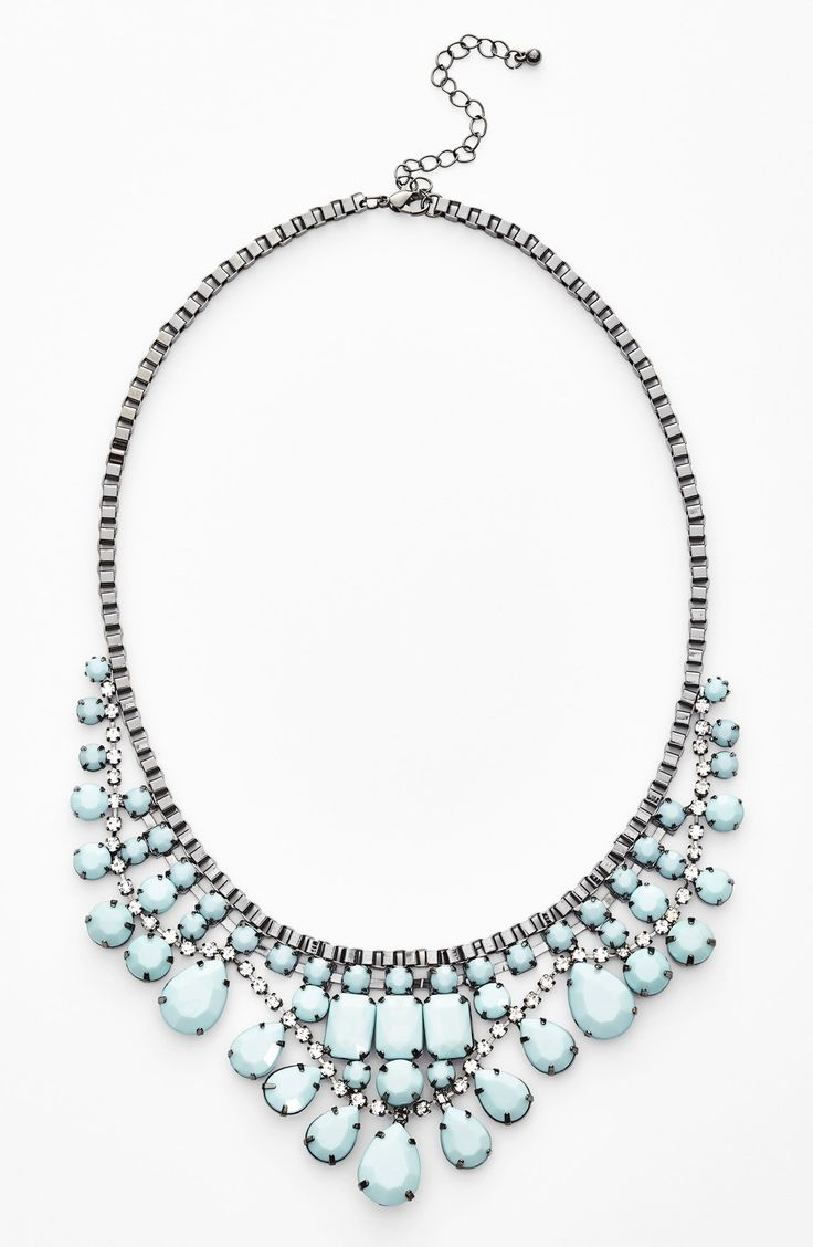 Pretty ice blue crystal statement necklace.