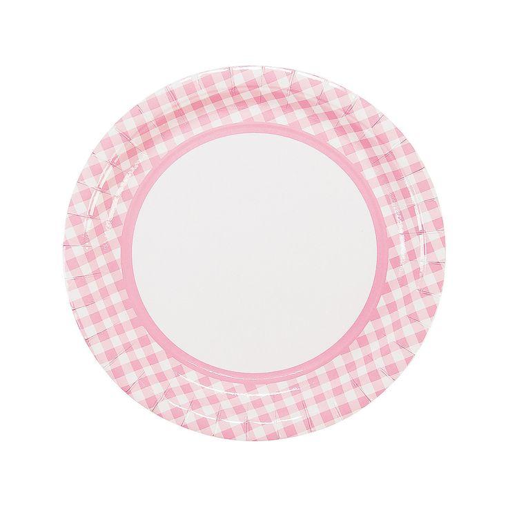 Light+Pink+Gingham+Dinner+Plates+-+OrientalTrading.com