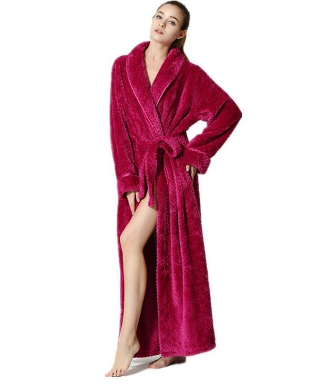 Womens Long Robe Fleece Dressing Gown Plush Luxury Bathrobe Ladies Shawl Collar Housecoat Sleepwear