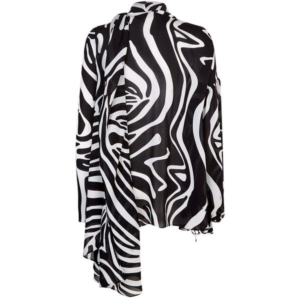 Emilio Pucci Zebra Print Kaftan Top ($1,505) ❤ liked on Polyvore featuring tops, tunics, loose tunic, silk kaftan, loose fitting tops, loose tops and loose fit tops